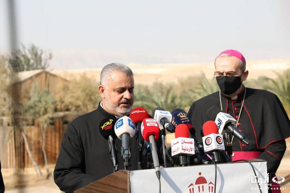 Father Rifat Bader speaks to the media on the occasion of the first visit of H.B. Patriarch Pierbattista Pizzaballa the Latin Patriarch of Jerusalem to Jordan in 2020