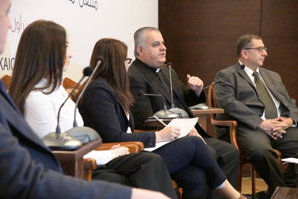 Father Rifat Bader speaking on the panel of KAICIID's Social Media as a Space for Dialogue training in Jordan, 2018