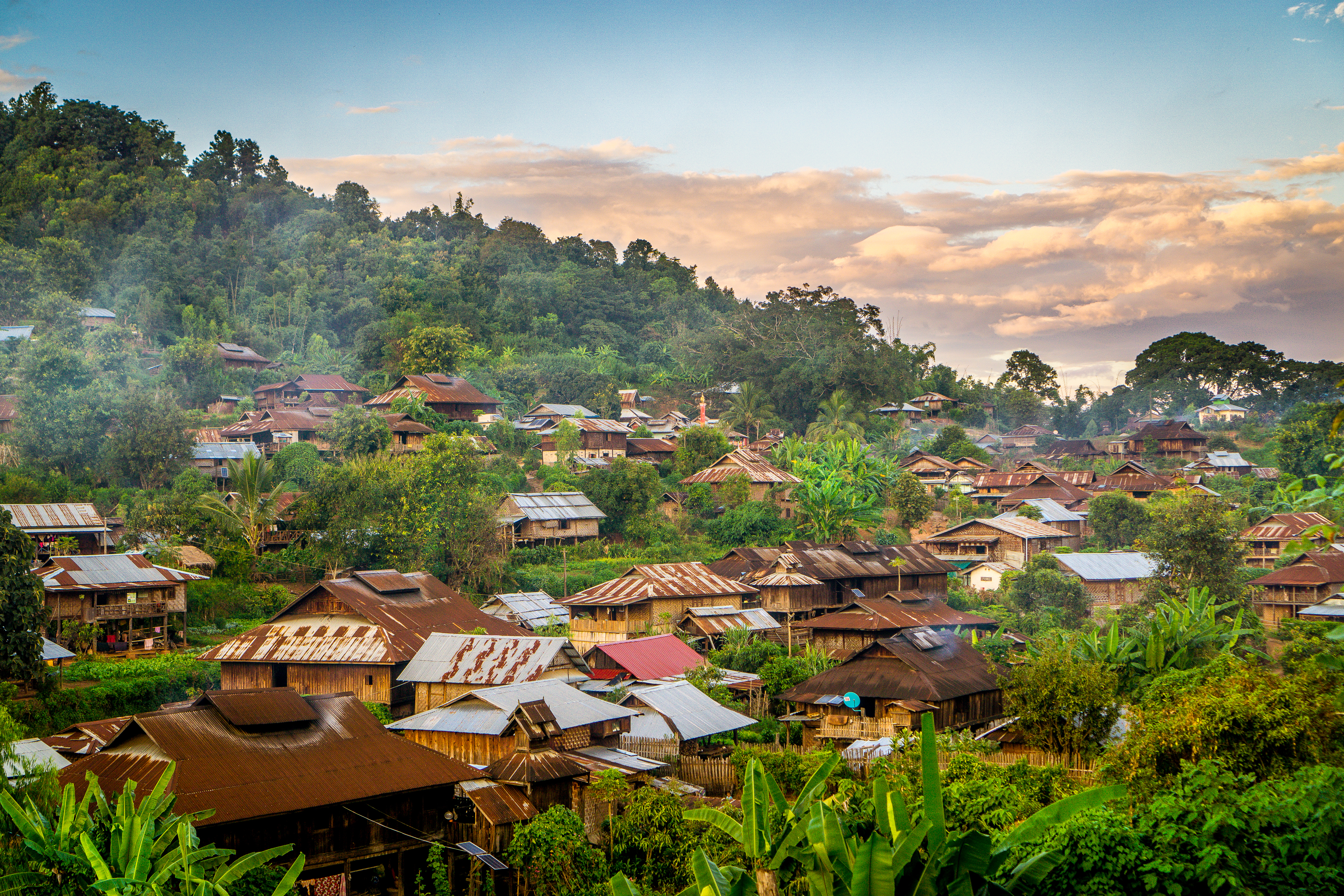 A rural mountain village in Shan State, Myanmar