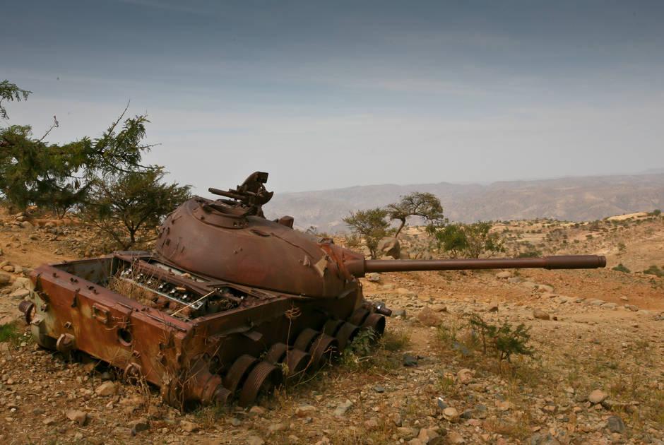 Military tank in the Tigray Region of Ethiopia