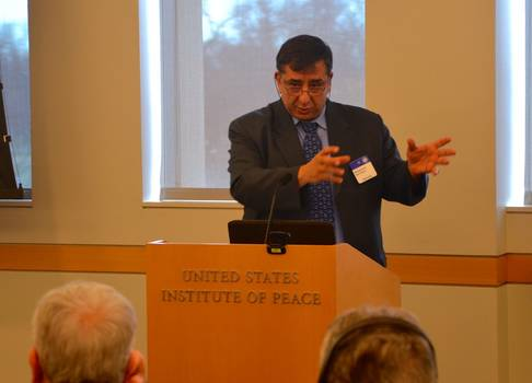 KAICIID Sr. Adviser Prof Abu-Nimer speaking at meeting at the United States Institute for Peace on role of religious leaders in preventing atrocity crimes. Photo: KAICIID