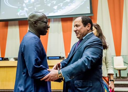 KAICIID Secretary General Faisal Bin Muaammar and United Nations Special Adviser on Genocide Prevention Adama Dieng at a joint event at UN Headquarters in New York, 14 July 2017. Photo: KAICIID/Michael Palma Mir