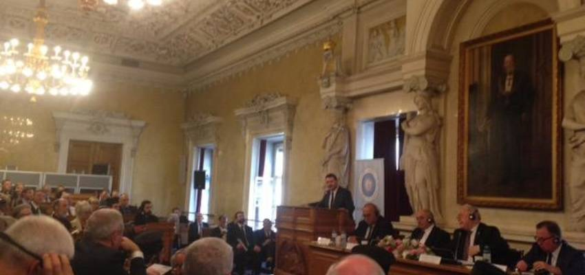 KAICIID Chief of Staff Fahad Abualnasr speaks at the opening ceremony of the 22nd General Assembly of the Interparliamentary Assemby on Orthodoxy, Vienna, 25 June 2015. Photo: KAICIID