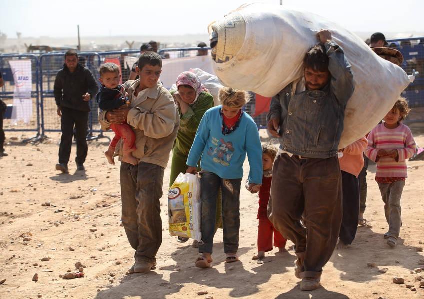 Refugees from Kobane, Syria in Suruc Turkey