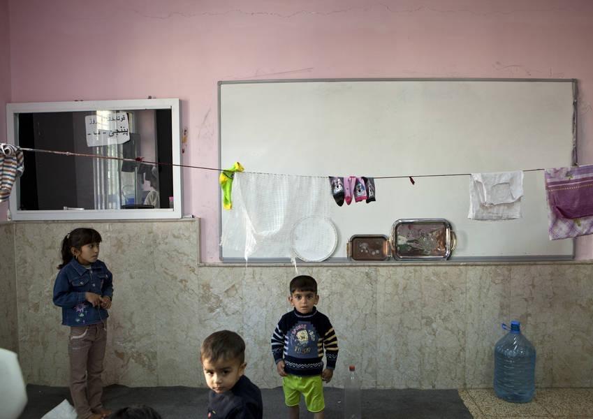 Yazidi children refugees at the Medrese Nawroz School in Dohuk.