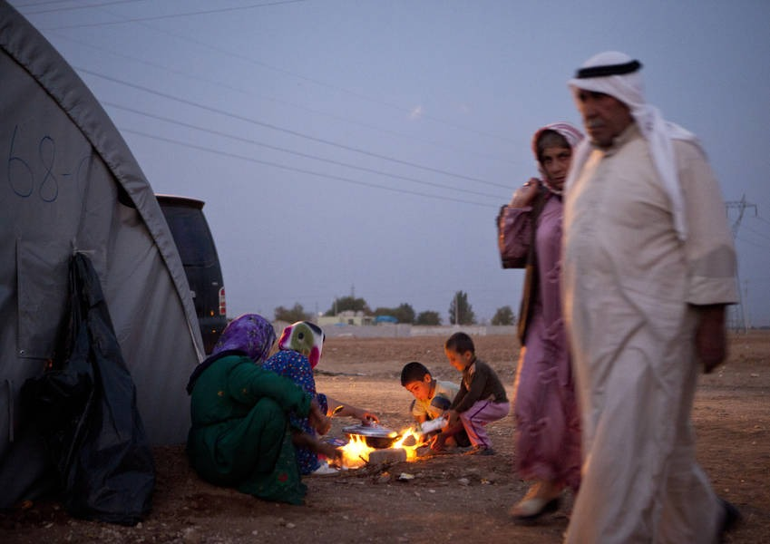 Syrian Sunni refugees in a tent camp close to Suruc, Turkey