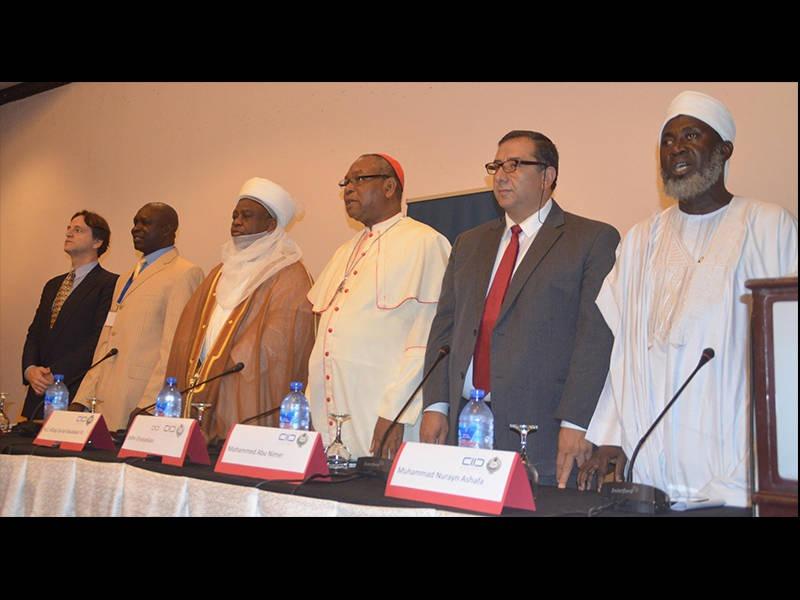 L-R: Patrice Brodeur (KAICIID); Rev. Dr. Testimong Onifade; Sultan of Sokoto, Alhaji Saad Abubakar III; Archbishop of Abuja, Cardinal John Onaiyekan; Prof. Mohammed Abu Nimer (KAICIID); and Sheikh Muhammad Murayn Ashafa at the opening ceremony
