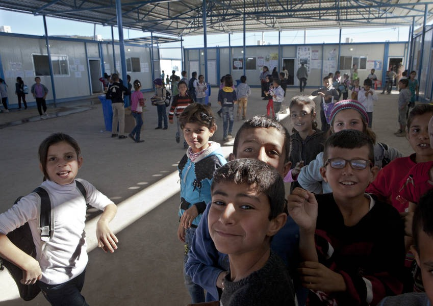 Gawilan Camp, Syrian refugee children at the camp school. The primary school is run by the Kurdistan Regional government with financial support by Japan.