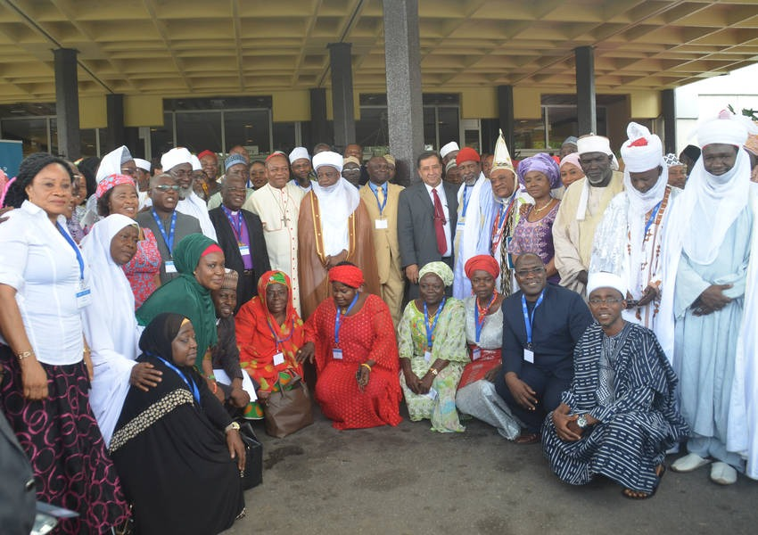 Sultan of Sokoto, Alhaji Saad Abubakar III, Archbishop of Abuja, Cardinal John Onaiyekan with participants at the opening ceremony of the National Inter-Faith Dialogue meeting organized by ICPR and KAICIID with the interfaith Mediation Center in Abuja