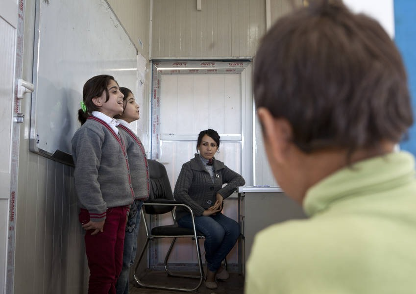 Gawilan Camp, Northern Iraq: Syrian refugee children at the camp school. The primary school is run by the Kurdistan Regional government with financial support by Japan.