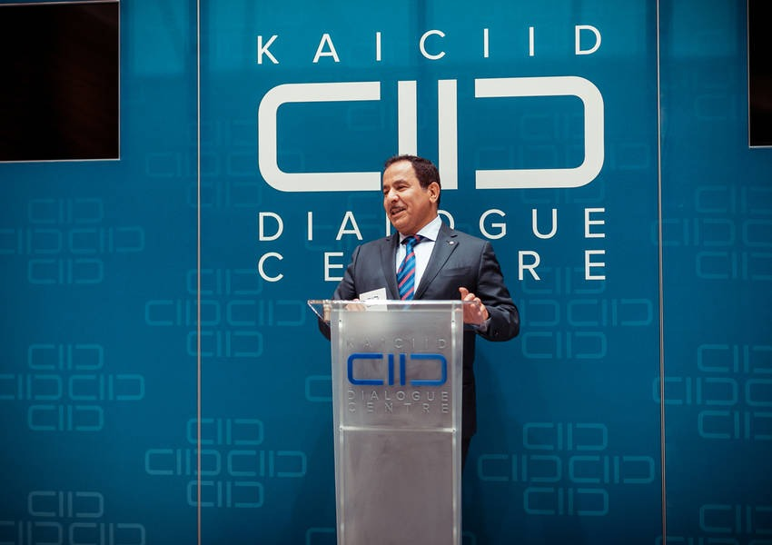 KAICIID Secretary General Faisal Bin Muaammar opened the exhibition with a speech greeting the guests and artists. Photo: David Pan