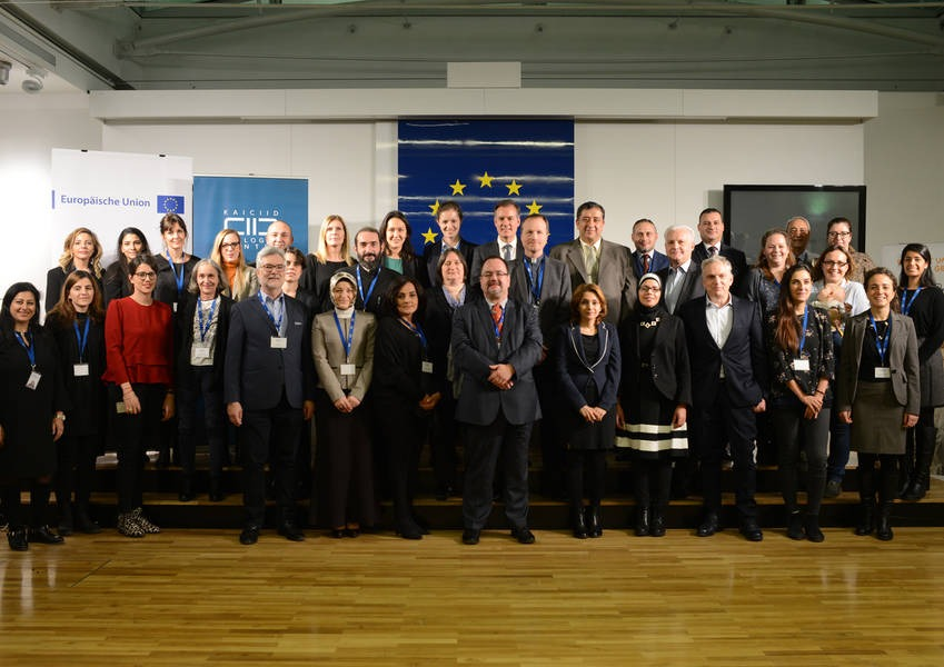 """Group photo of participants of the Expert Workshop at the """"House of the European Union"""" in Vienna in December 2017"""