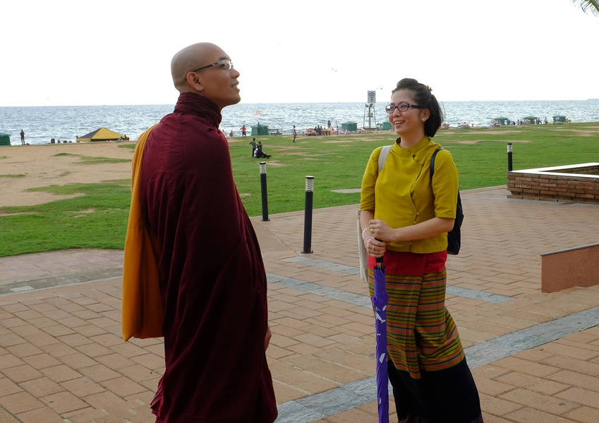 Nang Loung Hom speaks with the Venerable Acinna. Both Fellows are Buddhists who are currently working in Sri Lanka.