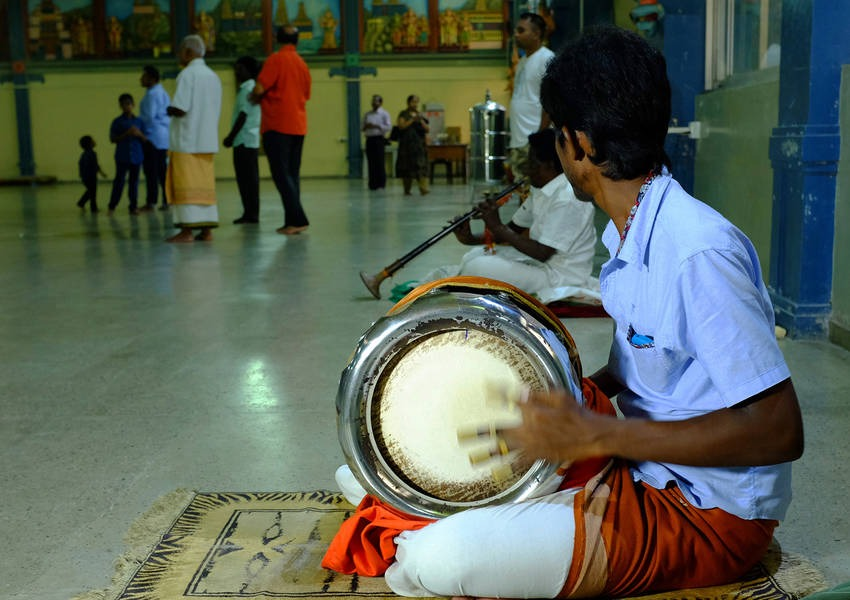During the visit, the Fellows had the opportunity to observe a ceremony that featured offerings in the form of music.