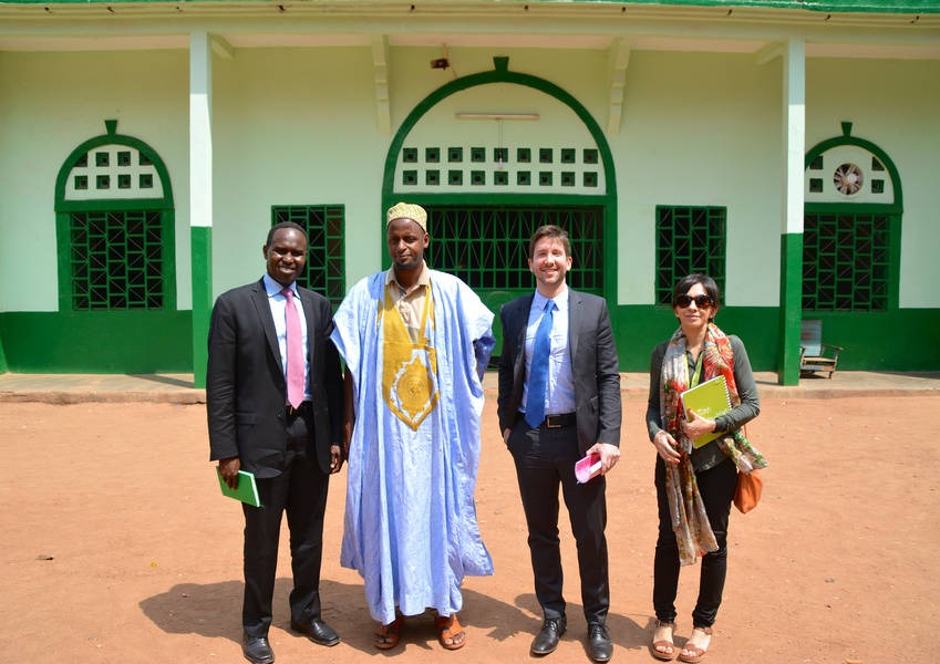 Imam Tijani with KAICIID staff and partners at the Central Mosque in Bangui, PK5, where the Imam had welcomed Pope Francis in November 2015. Photo: KAICIID