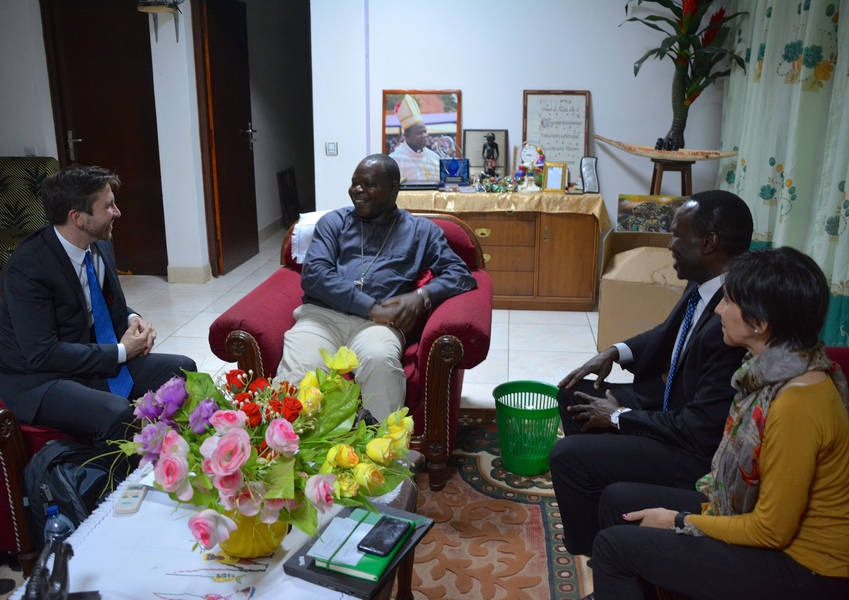 KAICIID staff and partners met the archbishop of the Central African Republic to discuss plans for peacebuilding in the region, starting with intra-Muslim dialogue to enhance social cohesion among the Muslim community. Photo: KAICIID