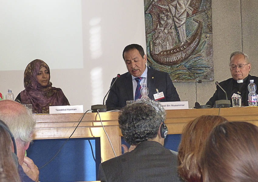 The KAICIID Secretary General, Faisaal bin Muaammar speaks on an interreligious panel at the Assisi conference