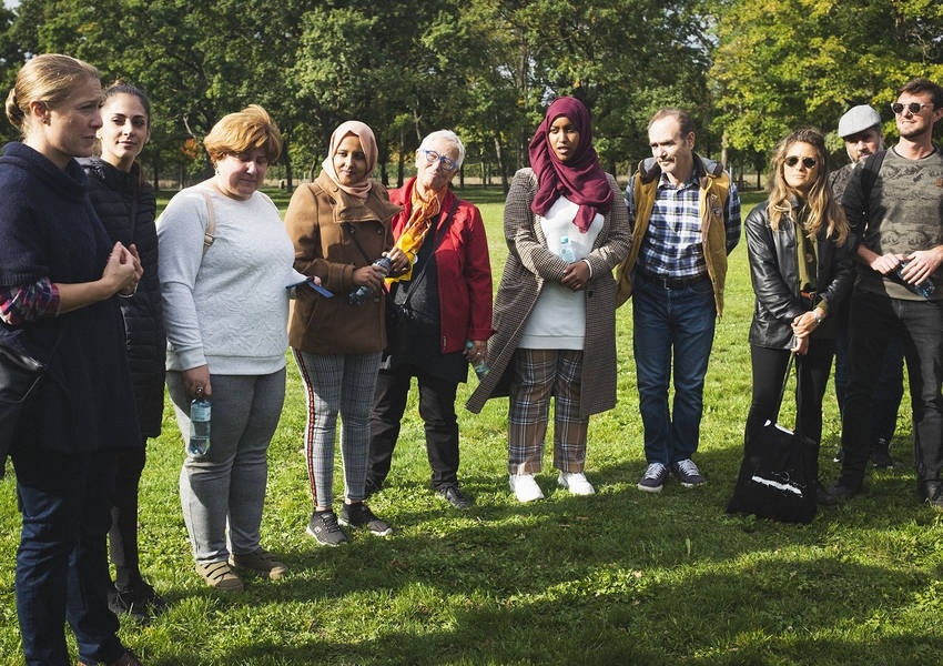 Facilitator with participants at Global Solidarity Walk at Vienna´s Prater park (October 2019)