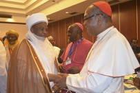 The Archbishop of Abuja, Cardinal John Onaiyekan welcomes the Sultan of Sokoto, Alhaji Saad Abubakar III.